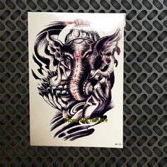 Evil Elephant Tattoo Waterproof Arm Tattoo Sleeve Elephant Deity Long Fingernails Ganesha Design Temporary Tattoo Sticker GHB103