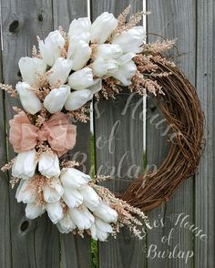 Excited to share the latest addition to my shop: Spring wreath, Rustic wreath, Flower wreath, Tulip wreath, Mother Wreath Crafts, Diy Wreath, Grapevine Wreath, Wreath Ideas, Burlap Wreaths, Tulip Wreath, Floral Wreath, Flower Wreaths, Ribbon Wreaths