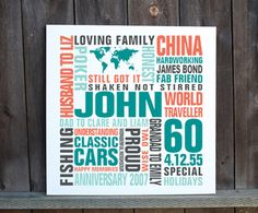 Personalised 60th Birthday word art canvas Typography print - MyPhoto2canvas Birthday Words, 60th Birthday, Birthday Typography, Shaken Not Stirred, Typography Prints, Happy Anniversary, Word Art, Canvas Prints, Holiday