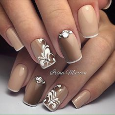 Beautiful nails 2017, Evening nails, Fashion autumn nails, Fashion nails 2017, Medium nails, Monogram nails, Nails ideas 2017, Nails with curls