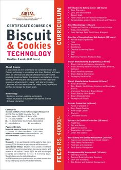 Enroll now for Certificate Course on #Biscuit & #Cookies #Technology. Session starting on Sept. 11 at #AIBTM, Greater Noida.