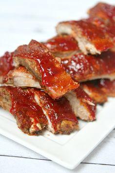 Slow Cooker Sriracha- Cranberry Baby Back Ribs Recipe @recipegirl