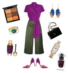 """Elegant Purple"" by aida-sbotv on Polyvore featuring Ted Baker, Etro, Manolo Blahnik, Chanel, MAC Cosmetics, Larkspur & Hawk, Christian Dior, Judy Geib, Jaeger-LeCoultre and Guerlain"