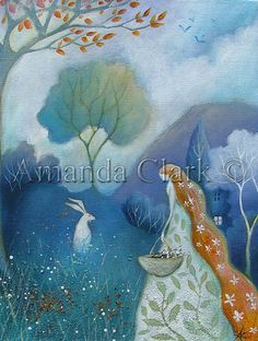 Mystical and magical. Art print of an original painting by Amanda Jane Clark.    Image size approx 13x18cm.  Mount size 6cm. Off-white.  Overall