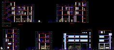 Fire station department design section and elevations Revit Architecture, Architecture Details, Interior Design Photos, Church Design, Cad Drawing, Autocad, Decoration, Floor Plans, House Design