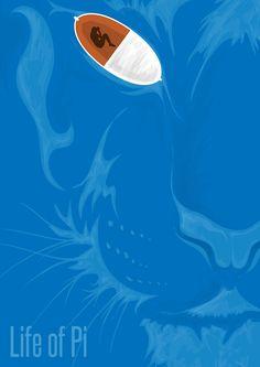 Life of Pi - movie poster - Joe Boyd - Decor Pins Best Movie Posters, Minimal Movie Posters, Movie Poster Art, Cool Posters, Fan Poster, Pi Art, Poster Minimalista, Life Of Pi, Alternative Movie Posters