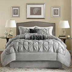 Madison Park Lafayette Grey Comforter Set - 18382218 - Overstock - Great Deals on Madison Park Comforter Sets - Mobile Bedding Master Bedroom, Home Decor Bedroom, Bedroom Ideas, Bedroom Modern, Bedroom Furniture, Bedroom Wall, Modern Bedding, Glam Bedroom, Bedroom Size