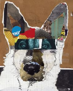 DOG ART Original German Shepherd #Dog Art Collage: Dirty Paw Moo by Michel Keck.    Photo credit: (c) MichelKeck.com    Pour acheter l'oeuvre, direction le site officiel:  http://www.michelkeck.com/category_s/142.htm