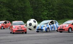 Great episode of Top Gear. Would love to play a game of footy like this! Toyota Aygo, Uk Magazines, Top Gear, Soccer Ball, How To Memorize Things, Product Launch, Football, Car, Sports