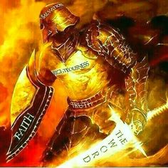 Put on the whole armor of God, prophetic art warrior painting with sword of Spirit.