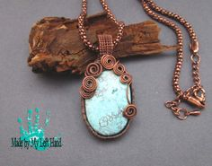 Copper necklace Azurite ~~ wire wrapped pendant by MadeByMyLeftHand