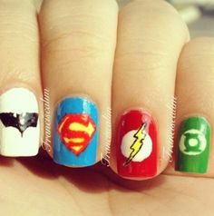 Superhero nails for my friend who loves superheroes
