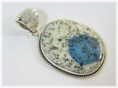 21 Ct - K2 Maine Blueberry Granite - Sterling Silver Modernist Pendant - Black White Blue Jasper - The Perfect Gift - FREE SHIPPING by FindMeTreasures on Etsy