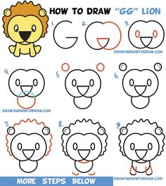 """Learn How to Draw a Cute Cartoon Lion from Letters """"G"""" & """"G"""" Easy Step by Step Drawing Tutorial for Kids - How to Draw Step by Step Drawing Tutorials - Learn How to Draw a Cute Cartoon Lion from Letters """"G"""" & """"G"""" Easy Step by Step Drawing Tuto - Word Drawings, Easy Cartoon Drawings, Cartoon Drawing Tutorial, Drawing Cartoon Characters, Drawing Cartoons, Drawing Videos For Kids, Drawing Tutorials For Kids, Easy Drawings For Kids, Drawing Lessons"""