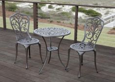 Faustina Antique Bronze Cast Aluminum 3-Piece Bistro Set. Hang out next to the pool or enjoy a snack on your patio with one of our classic bistro sets. Meridian Outdoor Living offers a wide range of luxurious outdoor bistro sets in different designs and styles. From traditional to modern, we have the patio bistro set you're looking for to complete your outdoor living space!