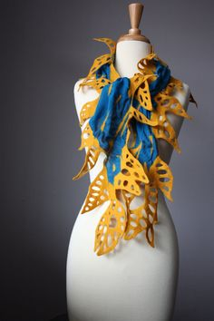 Nuno felted scarf Teal / Blue Yellow  wool silk by VitalTemptation, $85.00