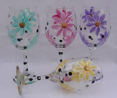 Hand Painted Wine Glasses ~ Flowers!