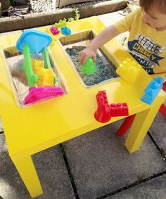 This IKEA LACK table hack was submitted by Becci from Its A Diy Life. She wanted to find a multipurpose play table for her toddler & his friend, but couldn't f… Lack Table Hack, Ikea Table Hack, Lack Hack, Cool Furniture, Painted Furniture, Upcycled Furniture, Sand Play, Play 1, Water Play