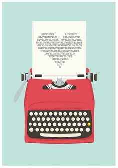 Vintage typewriter poster* mid century art* Retro print* heart print* words* pop art* posters with typewriters Pop Art Poster, Poster Design, Poster S, Print Poster, Graphic Design, Retro Design, Design Art, Design Ideas, Posters Vintage