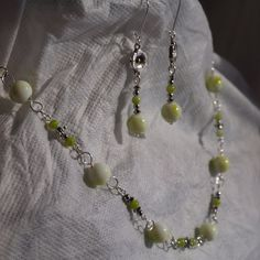 Green and silver link necklace. Hand by GibsonGirlsGoneWired $31.50