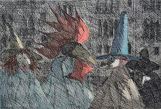 "Paul Flora ""Venezianischer Carneval"" Radierung 25 x 31 cm Paul Flora, Black And White, Abstract, Drawings, Illustration, Creative, Painting, Art, Dibujo"