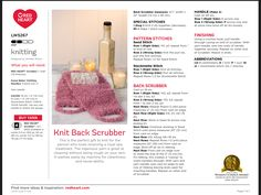Back Scrubber knitting pattern using Red Heart's Scrubby yarn