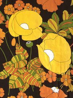 Huge vintage retro 60s Sanderson 'Odile' floral brown yellow curtains fabric | eBay