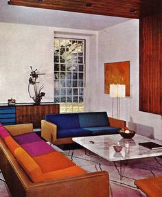 color block sofa cushions (House & Garden's Complete Guide to INTERIOR DECORATION ©1970)