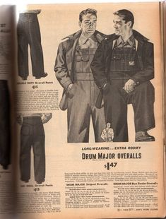 29aff3828db 1940s mens workwear. 1944 overalls and denim pants 1940s Mens Fashion