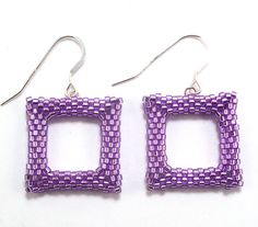 Square Purple Earrings Free Shipping USA