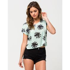 Full Tilt Palm Womens Tee ($20) ❤ liked on Polyvore featuring tops, t-shirts, mint, scoop-neck tees, mint green t shirt, crop top, scoop neck tee and scoop neck crop top