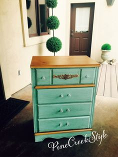 Old Dresser gets a New Look! Furniture restyled...finished with a dirty vintage/distressed look & crystal drawer pulls..from PineCreekStyle, Blog, FaceBook, Pinterest & Instagram!