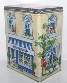 Belgium Jules Destrooper Biscuits Bakery Store Shop Building Tin Box Container | eBay