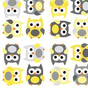 Little Owls in Gray and Yellow by littlebdesigns