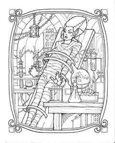 bride of frankenstein coloring page
