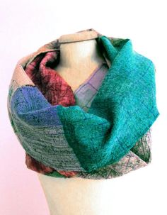 long nuno felted infinity winter scarf for women by gaiagirard