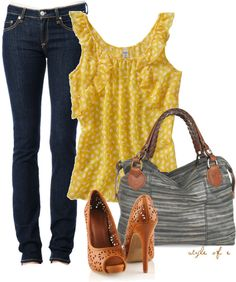 """""""Yellow and Gray Patterns"""" by styleofe on Polyvore"""