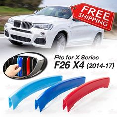 M-Tech 7 Slats Kidney Grill Grille 3 Colour Cover Clips for BMW X4 F26 2014-2017