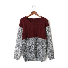 Color Block Cable Knit Sweater in Red$45.00 ($45) ❤ liked on Polyvore