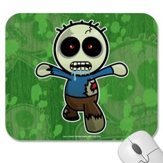Cute Little Cartoon Zombie Mouse Pad by 3ddevine