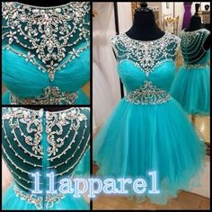 A-line Scoop Cap Sleeves Short Mini Turquoise Organza Crystals Homecoming Dresses Cocktail Dresses