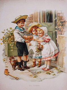 絵本の挿絵(可愛い金魚) - イギリスとフランスのアンティーク | 薔薇と天使のアンティーク | Eglantyne(エグランティーヌ)