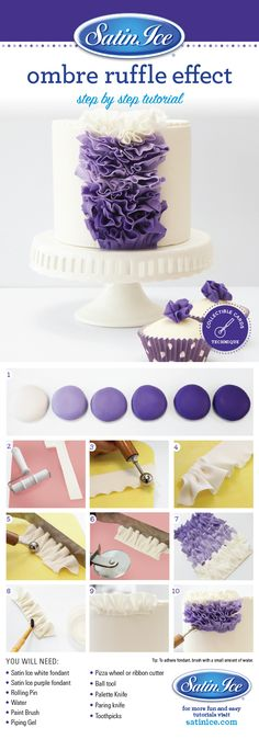 DIY fondant ombre ruffles to make a big cake statement by Satin Ice!