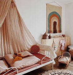 How gorgeous is this little girl's room by 👈🏻 Featuring the OYOY Rainbow Wall rug and Ferm Living Kuku Doll bed, all available… Girl Room, Girls Bedroom, Boys Bathroom Decor, Décor Boho, Kids Room Design, Baby Decor, New Room, Cheap Home Decor, Room Inspiration