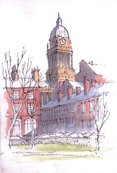 Leeds Town Hall viewed from Park Square - sketch ~ John Edwards Pen And Watercolor, Watercolor Landscape, Watercolor Paintings, Watercolours, Building Illustration, Illustration Sketches, Illustrations, Town Drawing, City Sketch