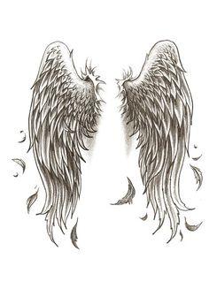 Ideas Tattoo Femininas Ideas Wings For 2019 Angel Wings Art, Angel Wings Tattoo On Back, Wing Tattoos On Back, Angel Wings Drawing, Tattoo Drawings, Body Art Tattoos, Sleeve Tattoos, Star Tattoos, Rose Tattoos
