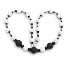 Long black white necklace Statement jewelry Big by ALFAdesigns