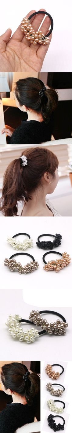 1Pcs Hair Ornaments Girls Headwear Pearl Elastic Rubber Hair Bands Tie Ring Headband Scrunchy Ponytail Holder Hair Accessories