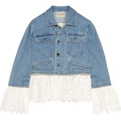 SEA Broderie anglaise cotton-paneled denim jacket (£520) ❤ liked on Polyvore featuring outerwear, jackets, blue jean jacket, blue jackets, blue cotton jacket, sea, new york and cotton jacket