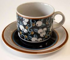 "My grandmother ""farmor"" had these, would LOVE pretty much anything by this company: Arabia-Made-in-Finland-Vintage-Taika-Blueberry-Flat-Cup-and-Saucer"